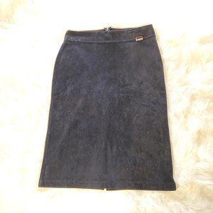 Calvin Klein Suede Pencil Skirt Black